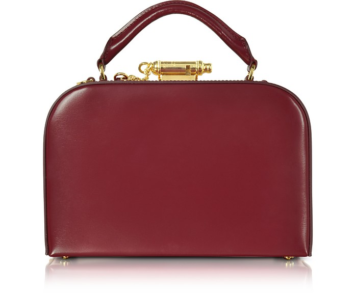 Dark Red Leather Whistle Case Bag - Sophie Hulme