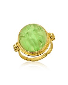 Three Graces - 18K Gold Green Mother of Pearl Cameo Ring - Tagliamonte
