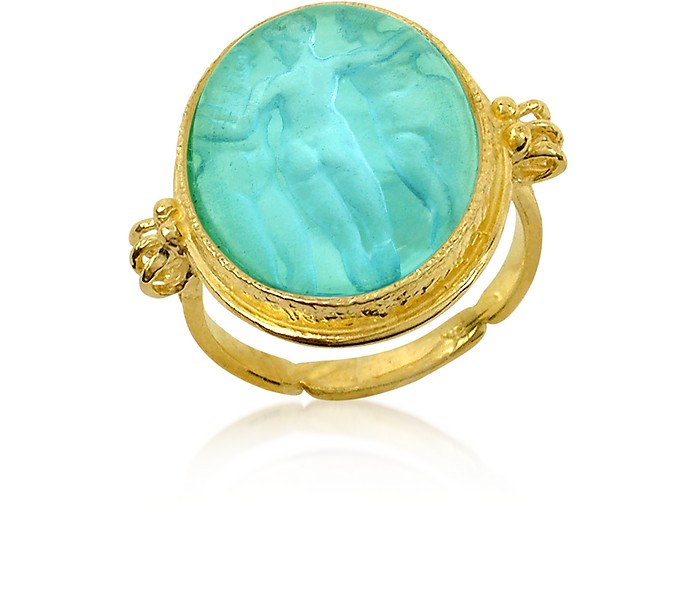 Three Graces - 18K Gold Turquoise Vitreous Paste Cameo Ring - Tagliamonte