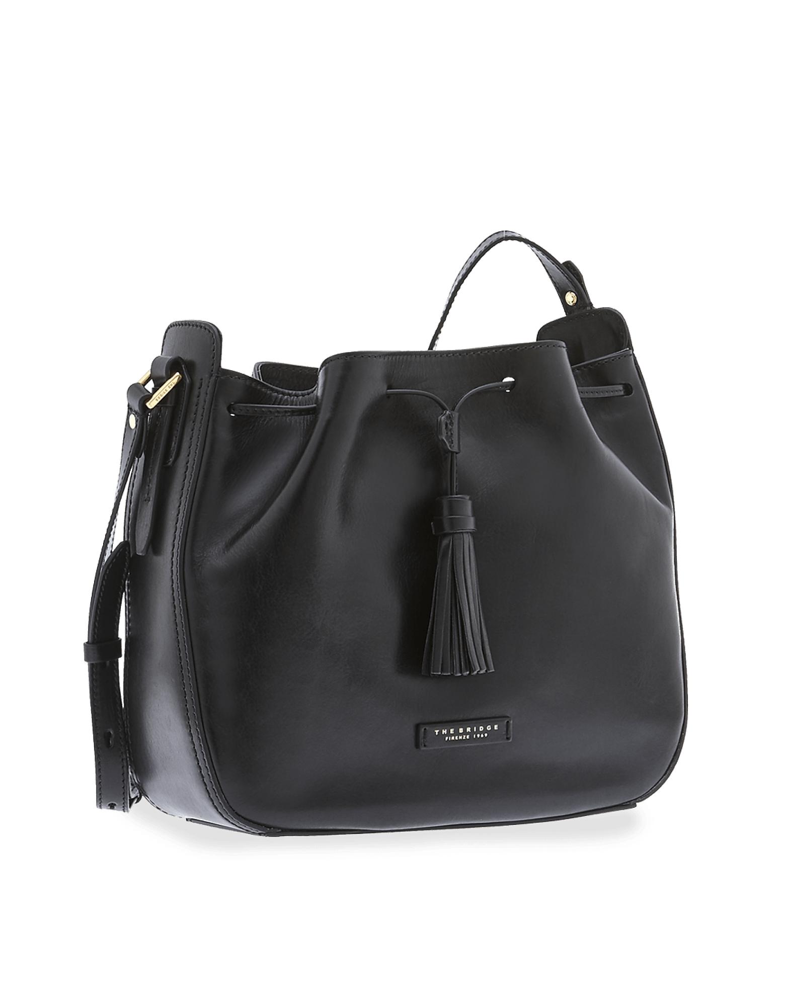 The Bridge Florentin Genuine Leather Bucket Bag In Black