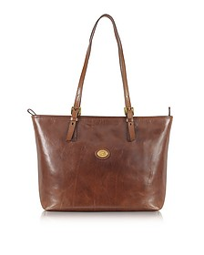 Story Donna Large Brown Leather Tote