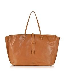 Mahe Cognac Leather Large Tote - The Bridge
