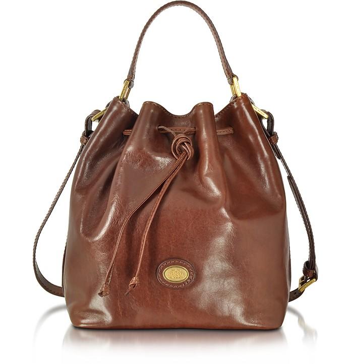 Dark Brown Leather Bucket Bag - The Bridge