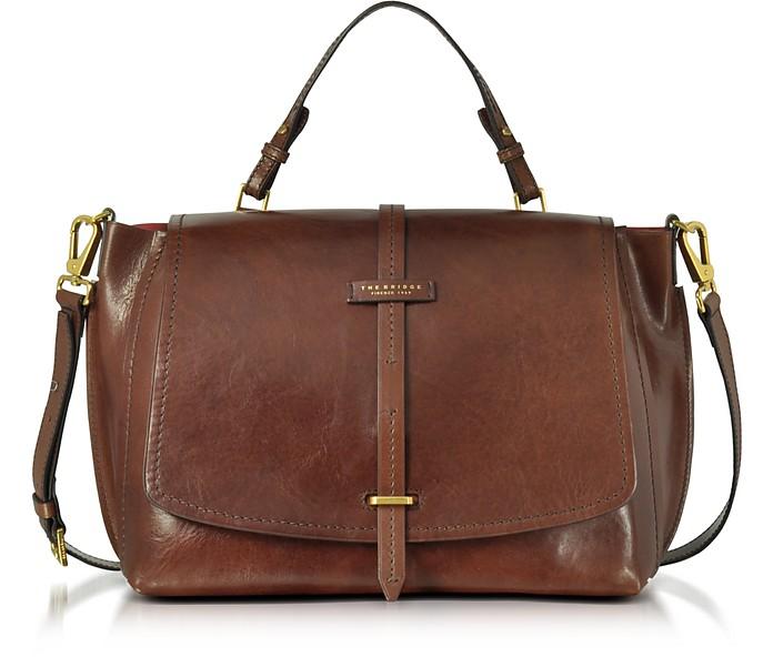 73d95e7c54d5e The Bridge Brown Leather Dual Function Oversized Satchel Bag at FORZIERI