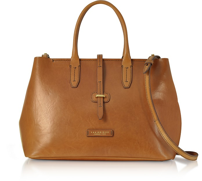 Dalston Large Shopper in Pelle con Tracolla The Bridge Cognac 97hSsR
