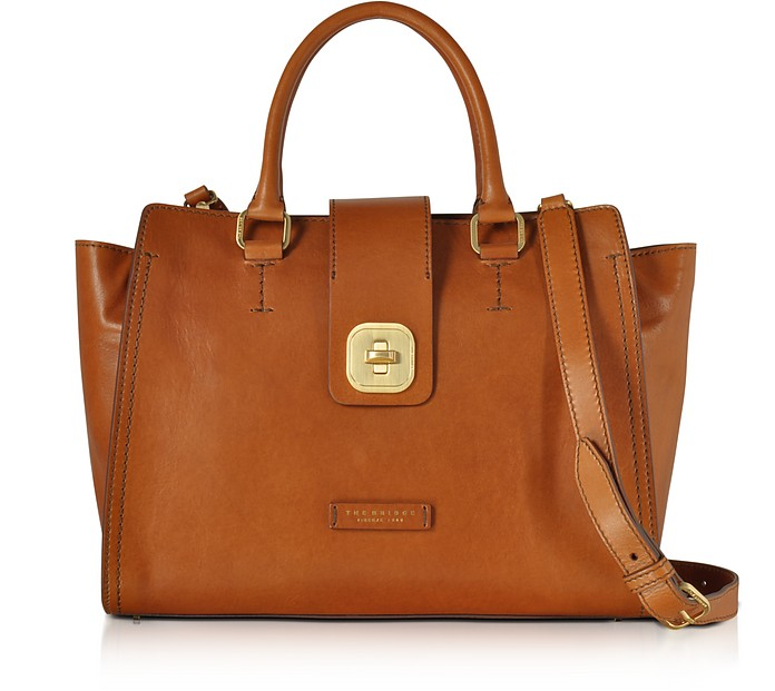 Large Leather Top Handle Satchel Bag - The Bridge