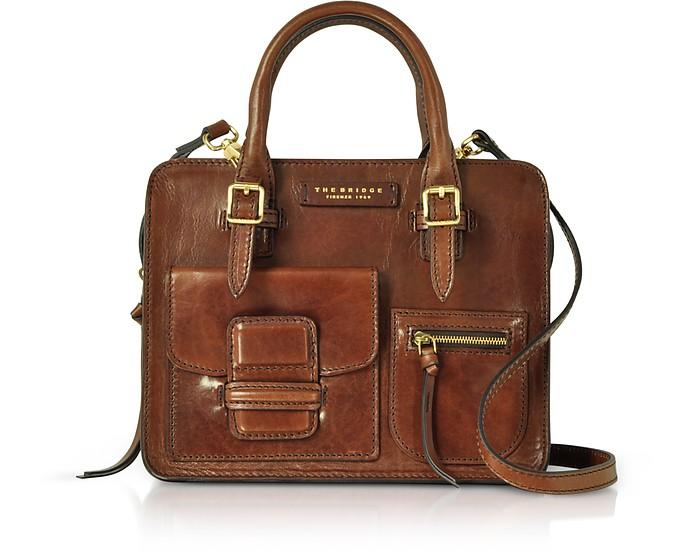 Brown Genuine Leather Mini Tote Bag - The Bridge