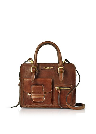 Brown Genuine Leather Mini Tote Bag - The Bridge