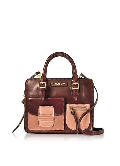 Burgundy Genuine Leather Mini Tote Bag - The Bridge