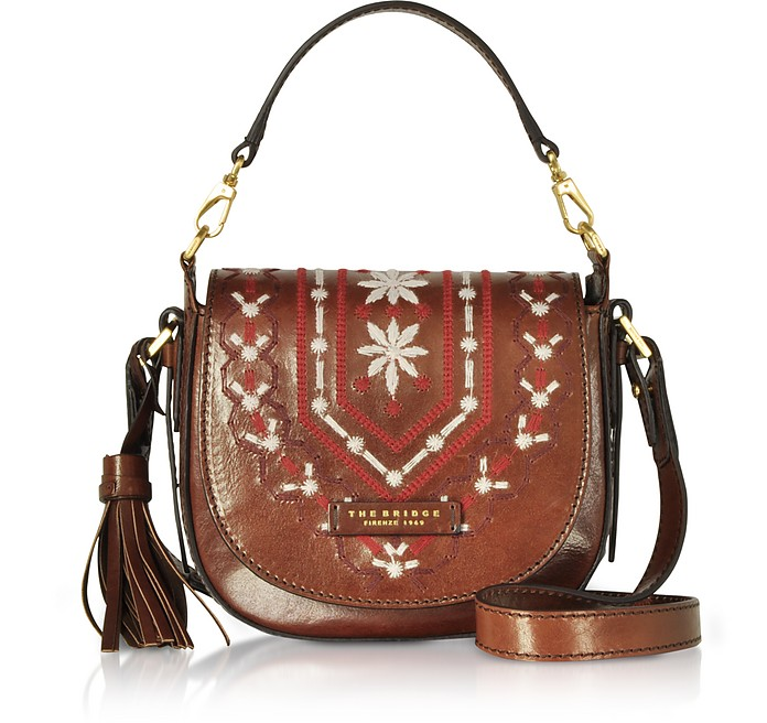 Fiesole Embroidered Leather Shoulder Bag - The Bridge