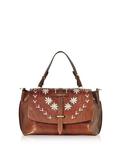 Fiesole Embroidered Leather Satchel Bag - The Bridge