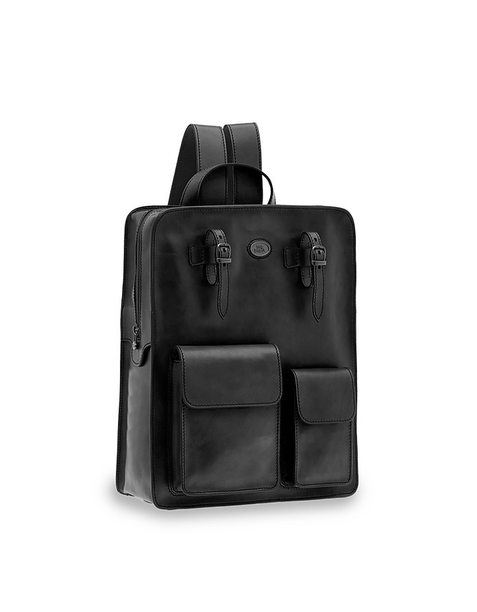Story Uomo Genuine Leather Squared Backpack w/two Front Pockets - The Bridge