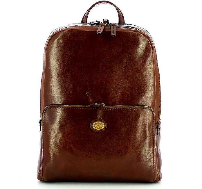 Brown Leather 2 Zip Story Uomo Backpack - The Bridge