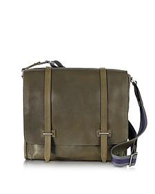 Ascott Large Olive Green Leather Messenger Bag