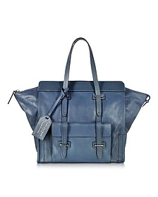 Ascott Blue Leather Small Tote - The Bridge