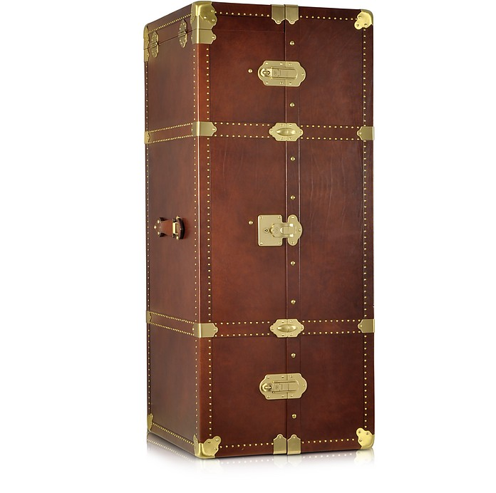 Dark Brown Leather Wardrobe Trunk - The Bridge