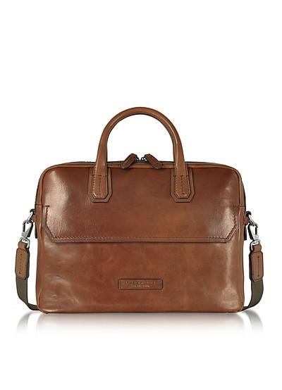Dark Brown Double Handle Briefcase - The Bridge