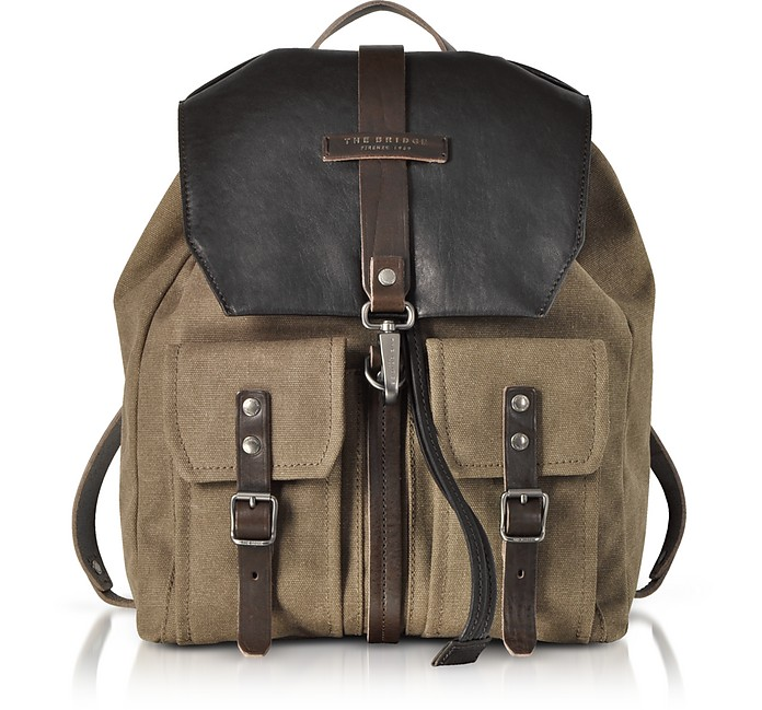 Carver-D Canvas and Leather Men's Backpack w/Flap Top - The Bridge