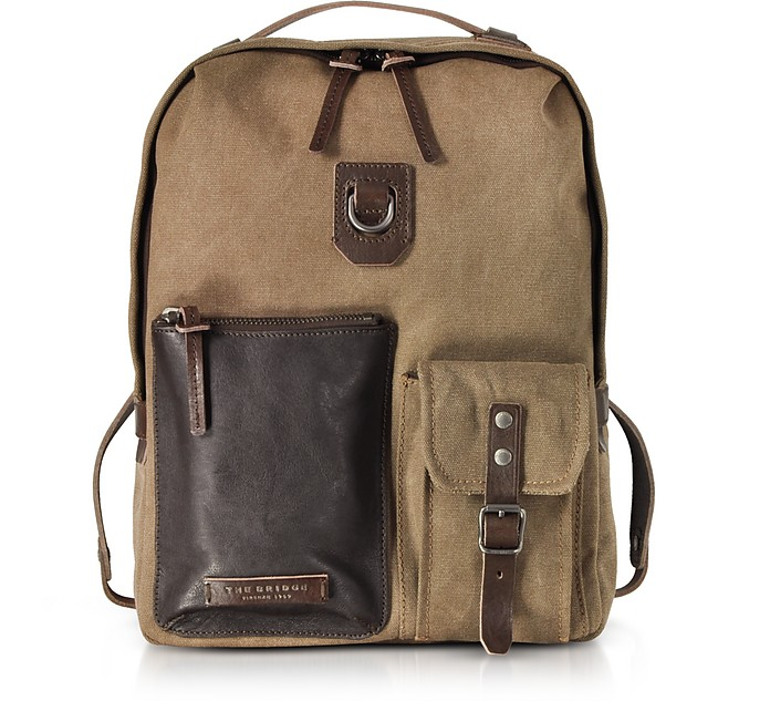 Carver-D Canvas and Leather Men's Backpack w/Top Zip - The Bridge