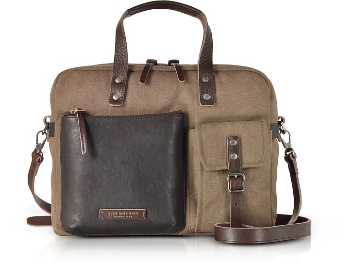 Carver-D Canvas Briefcase w/Leather Front Pocket - The Bridge