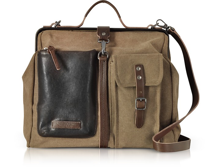 Carver-D Canvas Doctor Bag w/Leather Front Pocket - The Bridge