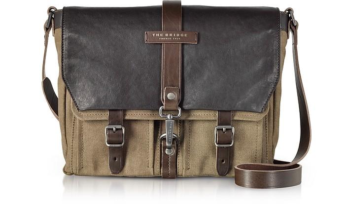 Carver-D Canvas Messenger Bag w/Leather Flap - The Bridge
