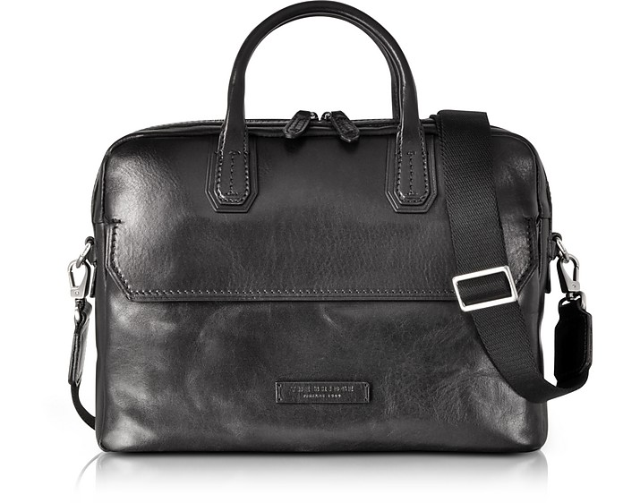 Williamsburg Black Leather Medium Briefcase w/Shoulder Strap - The Bridge