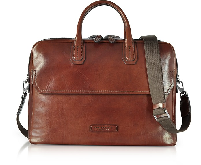 Williamsburg Brown Leather Large Briefcase w/Shoulder Strap - The Bridge