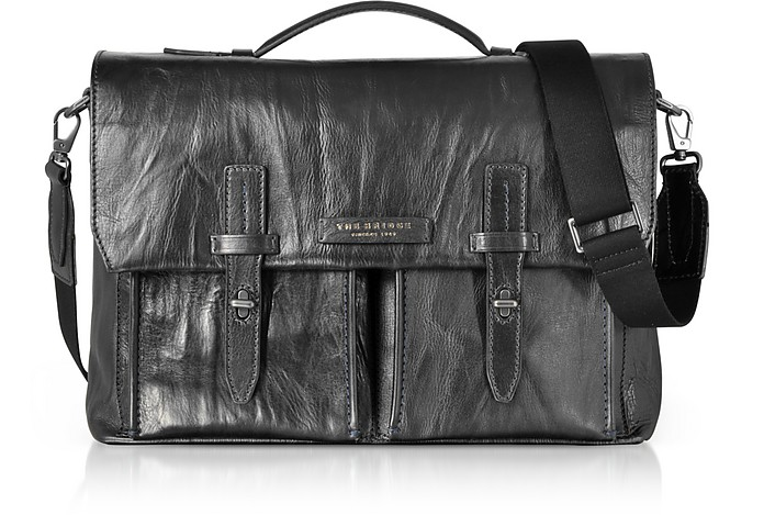 Washed Calf Leather Briefcase w/Shoulder Strap - The Bridge