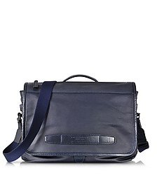 The Bridge by Pininfarina Navy Blue Leather Messenger Briefcase