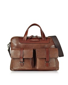 Brown Leather Double Handle Briefcase w/Two Front Pockets - The Bridge