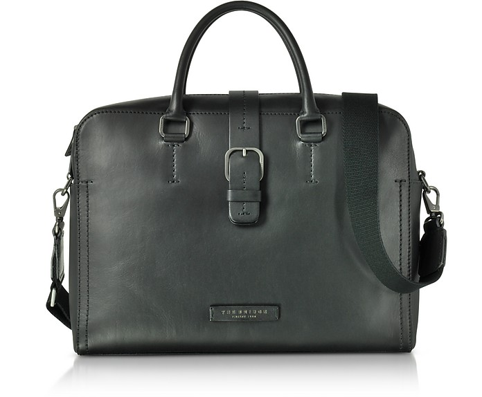 Black Leather Double Handle Briefcase w/Detachable Shoulder Strap  - The Bridge