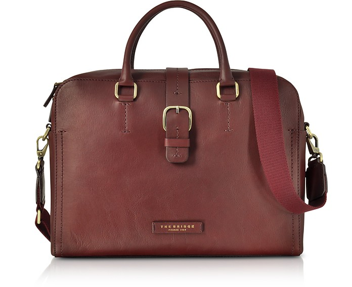 Burgundy Leather Double Handle Briefcase w/Detachable Shoulder Strap  - The Bridge / ザ・ブリッジ