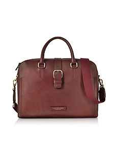 Burgundy Leather Double Handle Briefcase w/Detachable Shoulder Strap  - The Bridge