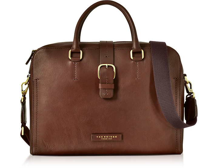 Dark Brown Leather Double Handle Briefcase w/Detachable Shoulder Strap  - The Bridge