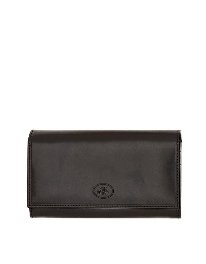Story Donna Black Genuine Leather Flap Wallet - The Bridge