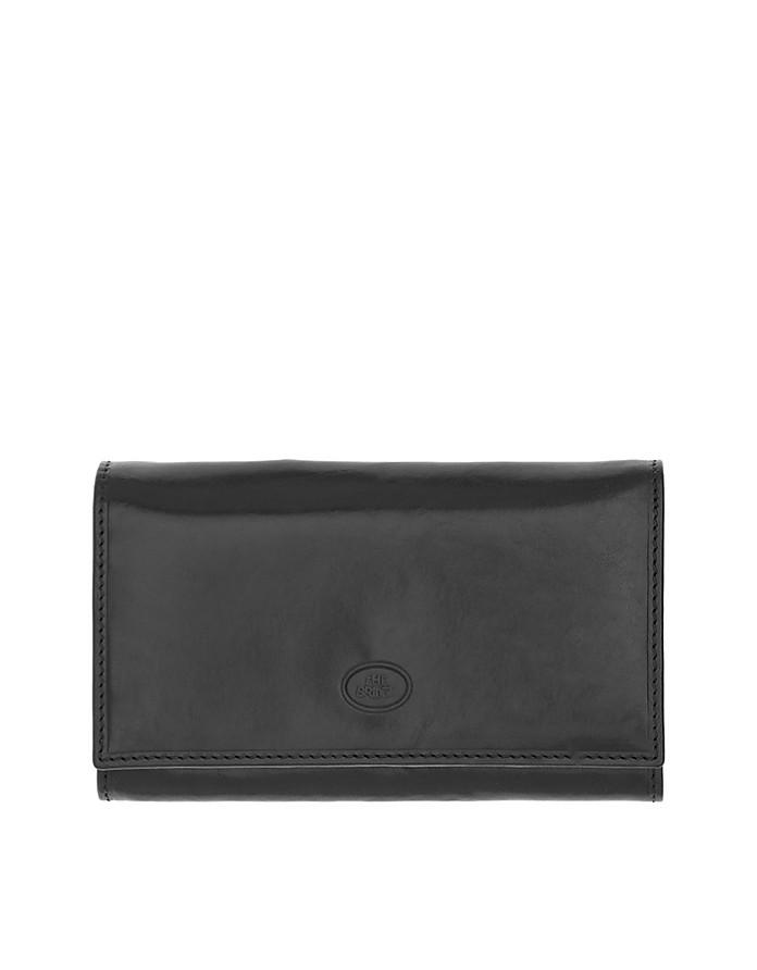 Story Donna Black Genuine Leather Flap Wallet w/Zip Pocket - The Bridge
