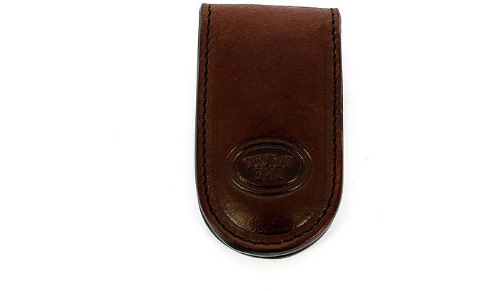 Brown Leather Story Dollar clip - The Bridge