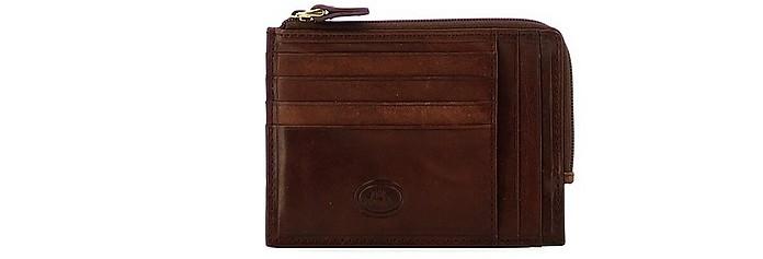 Story Uomo Brown Leather 14 Slots Credit Card holder w/Zip Pocket - The Bridge