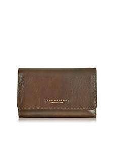 Passpartout Donna Damen Brieftasche aus Leder in dunkelbraun - The Bridge