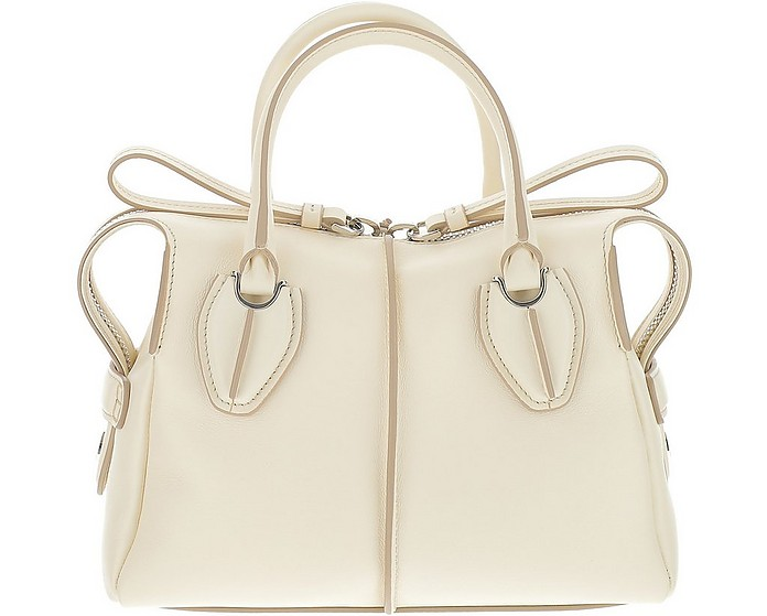 White Leather D-Styling Top Handle Bag - Tod's