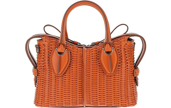 Brown Woven Wicker D-Styling Micro Satchel Bag - Tod's