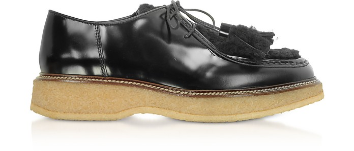 Black Leather and Shearling Tassels Lace up Shoes - Tod's