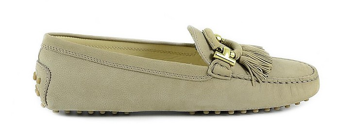 Taupe Leather Women's Tassels Loafer Shoes - Tod's / トッズ