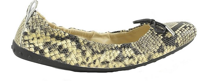 Black / Beige Python Embossed Leather Ballerinas - Tod's