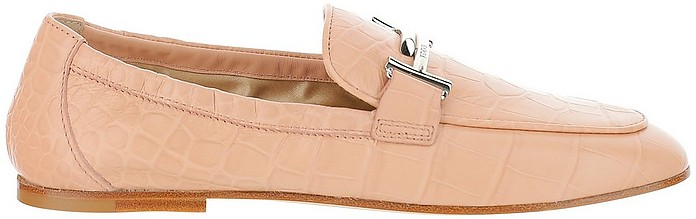Pink Croco-Embossed Leather Double T Moccasins  - Tod's