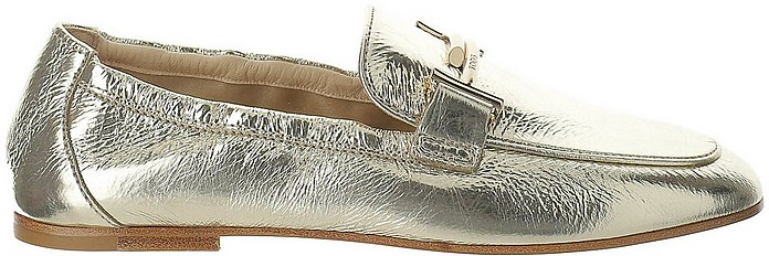 Gold Lamianted Leather Double T Moccasins - Tod's