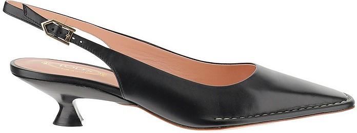 Black Kitten Heels Slingback Shoes - Tod's