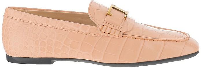 Pink Croco-Embossed Leather Double T Loafers - Tod's