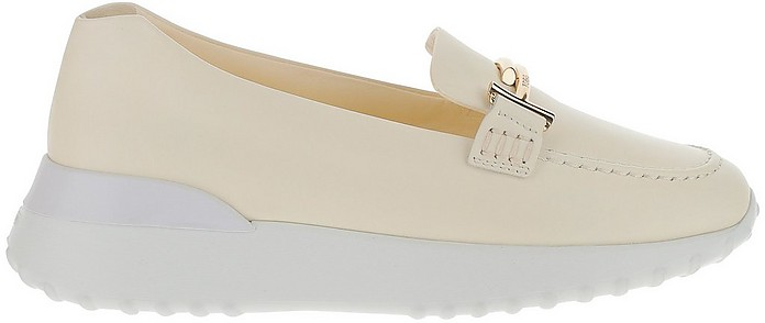 White Leather Double T Moccasins - Tod's